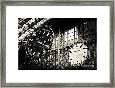 The Dent Clock And Replica At St Pancras Railway Station Framed Print by Peter Noyce