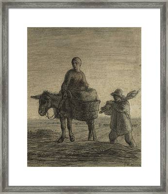 The Departure For Work Framed Print by Jean-Francois Millet