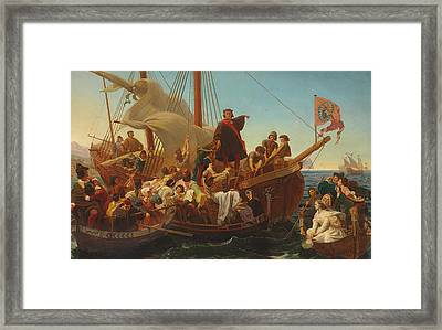 The Departure Of Columbus From Palos Framed Print by Emanuel Gottlieb Leutze
