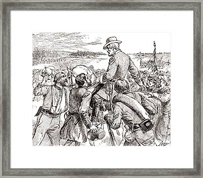 The Departure Of General Robert E Lee From His Soldiers Prior To His Surrender To Grant Framed Print by American School