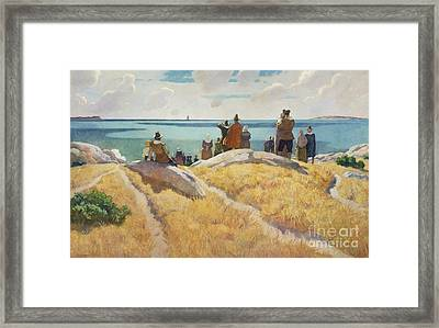 The Departure Of The Mayflower For England In 1621 Framed Print by Newell Convers Wyeth