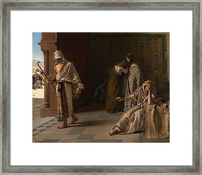 The Departure Of The Prodigal Son Framed Print by Edouard de Jans