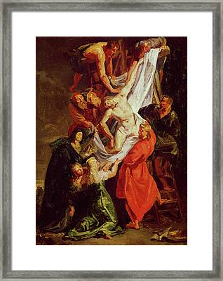 The Descent From The Cross Framed Print by Ferdinand Victor Eugene Delacroix