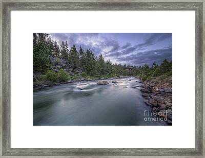 The Deschutes River At Dusk Framed Print by Twenty Two North Photography
