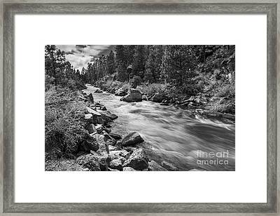 The Deschutes River In Black And White Framed Print by Twenty Two North Photography