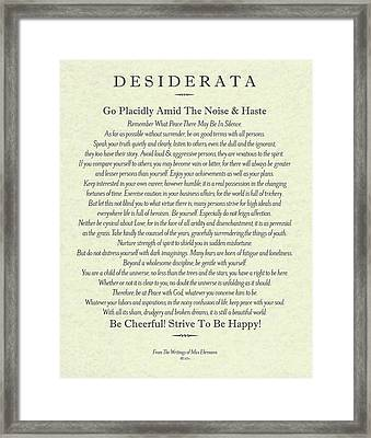 The Desiderata Poster By Max Ehrmann On Antique Parchment Framed Print by Desiderata Gallery