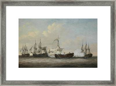 The Desperate Plight Of The Monmouth At The Close Of The Action With Three French Ships  Framed Print