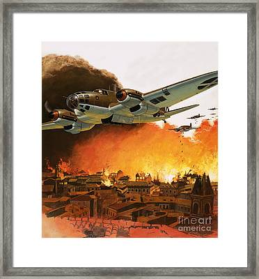 The Destruction Of Guernica During The Spanish Civil War Framed Print by English School