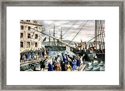 The Destruction Of Tea At Boston Framed Print