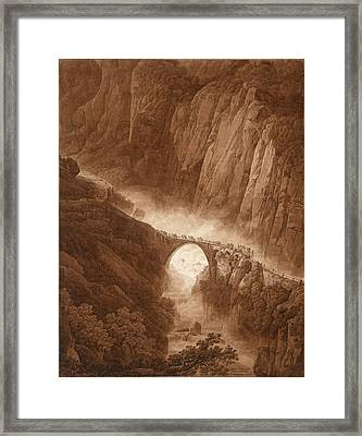 The Devil's Bridge In The Schollenen Gorge On The Way Across The St. Gotthard Pass With A Mule Train Framed Print by Peter Birmann
