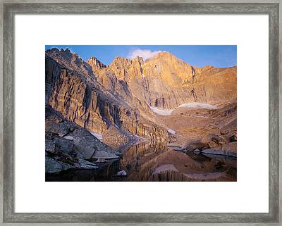 The Diamond Of Long's Peak Framed Print