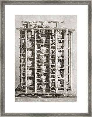 The Difference Engine Of The Babbage Framed Print by Vintage Design Pics