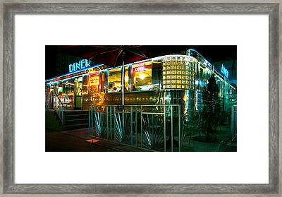 The Diner By Night Framed Print by Dieter  Lesche