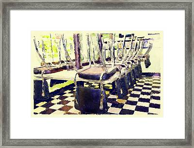 The Diner Is Closed Framed Print by Susan Leggett