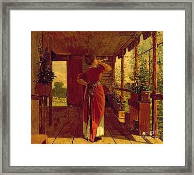 The Dinner Horn Framed Print by Winslow Homer