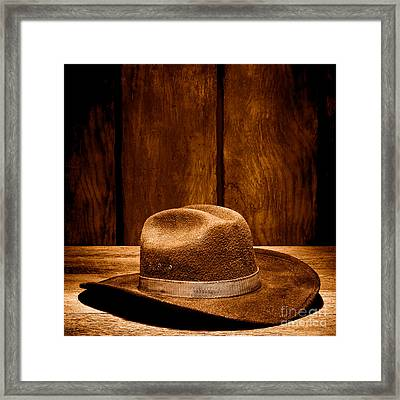 The Dirty Brown Hat - Sepia Framed Print by Olivier Le Queinec