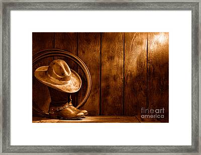 The Dirty Hat - Sepia Framed Print by Olivier Le Queinec