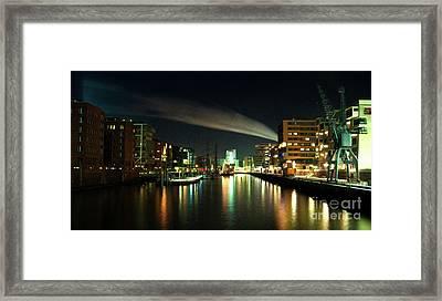 The Docks Of Hamburg By Night Framed Print by Rob Hawkins