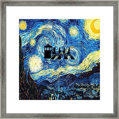 The Doctor Flying With Starry Night Framed Print by Vika Chan