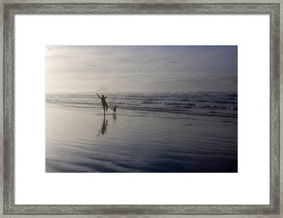 The Dog The  Girl And The Stick Framed Print