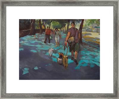 The Dog Walker Framed Print by Merle Keller
