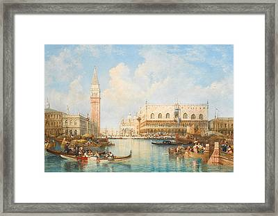 The Doge's Palace And Piazetta From The Lagoon, Venice Framed Print