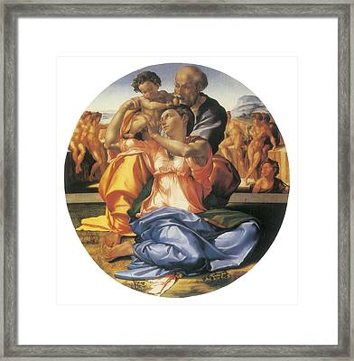 The Doni Tondo Framed Print by Michelangelo Bounarroti