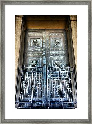The Door At The Parthenon In Nashville Tennessee Framed Print by Lisa Wooten