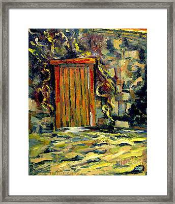The Door Posts Passover Reworked In Guilded Frame Locally Made Framed Print by Charlie Spear