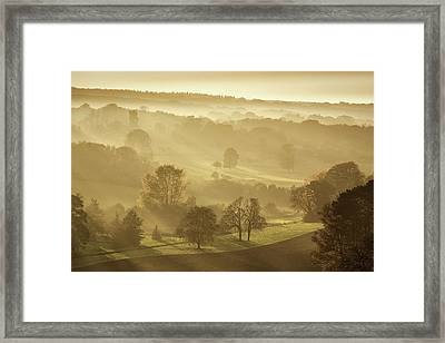 The Downs In Autumn Framed Print by Ian Hufton