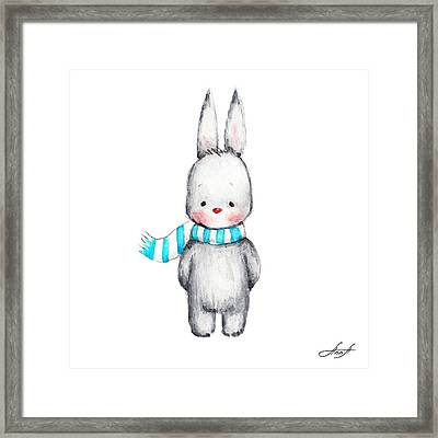 The Drawing Of Cute Bunny In Scarf Framed Print by Anna Abramska