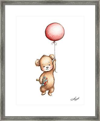 The Drawing Of Teddy Bear With Red Balloon And Flowers Framed Print by Anna Abramska