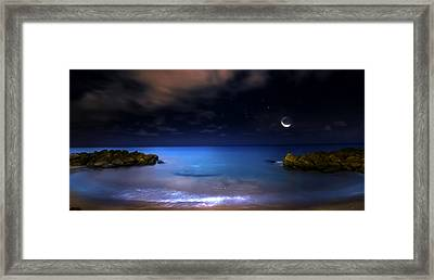Moonrise Lagoon Framed Print