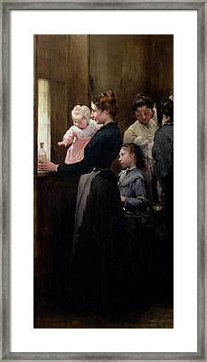 The Drop Of Milk In Belleville Framed Print by Henri Jules Jean Geoffroy