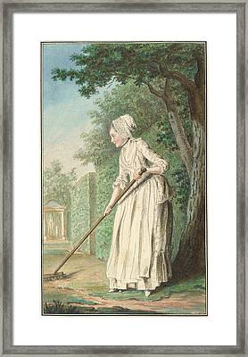 The Duchess Of Chaulnes As A Gardener In An Allee Framed Print