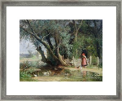 The Duck Pond Framed Print by Eduard Heinel
