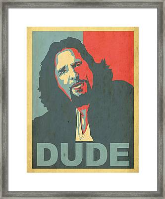 The Dude Obama Poster Framed Print by Christian Broadbent