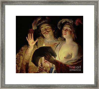The Duet, 1624 Framed Print by Gerrit van Honthorst