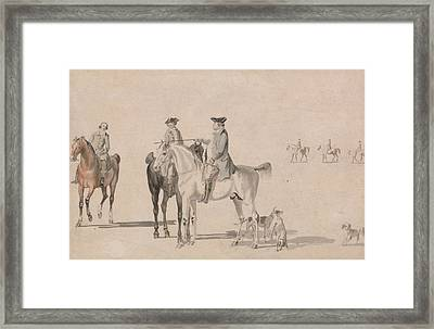 The Duke Of Cumberland With A Gentleman And A Groom, All Mounted, And Dogs Framed Print by Paul Sandby