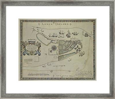 Framed Print featuring the photograph The Dukes Plan A Description Of The Town Of Mannados Or New Amsterdam 1664 by Duncan Pearson