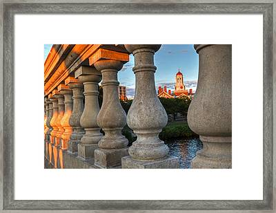 The Dunster House Through The John Weeks Bridge Harvard Square Framed Print by Toby McGuire