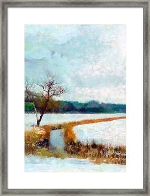 Framed Print featuring the painting The Dyke by Valerie Anne Kelly