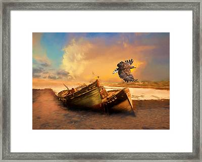 The Eagle And The Boat Framed Print