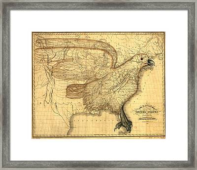 The Eagle Map Of The United States  Framed Print by Carey and Hart