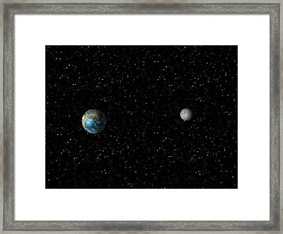 The Earth And Moon From Space (not To Scale) Framed Print