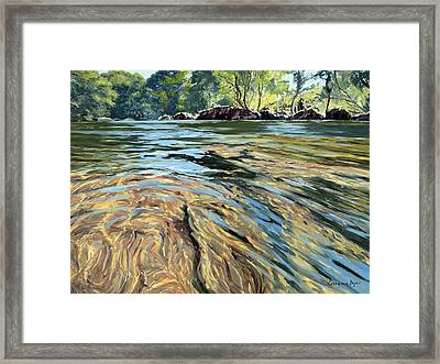 Framed Print featuring the painting The East Dart River Dartmoor by Lawrence Dyer