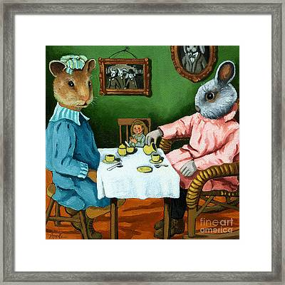 The Easter Tea Party Framed Print by Linda Apple