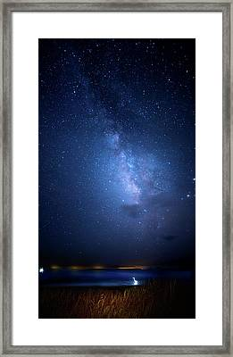 Framed Print featuring the photograph The Egret And The Milky Way by Mark Andrew Thomas