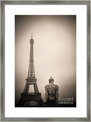 The Eiffel Tower And The L'homme The Man Statue By Pierre Traverse Paris. France. Europe. Framed Print by Bernard Jaubert