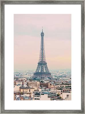 The Eiffel Tower At Sunset From The L'arc De Triomph Paris France Framed Print